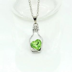 Drifting Bottle Rhinestone Green Heart Necklace